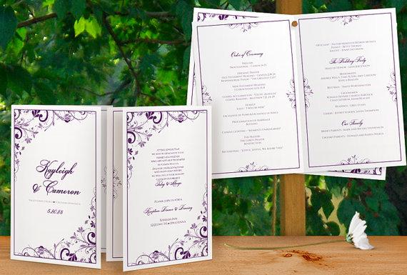 Printable Wedding Program Booklet - Download Instantly - EDITABLE