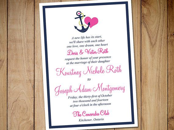 Printable Wedding Invitation Template - Nautical Invitation Candy