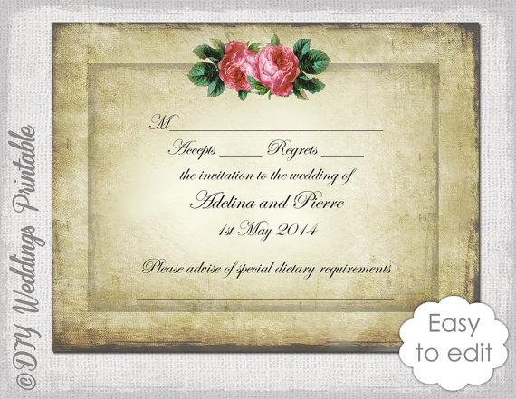 Wedding RSVP Template Download DIY Vintage \ - valentines card templates word