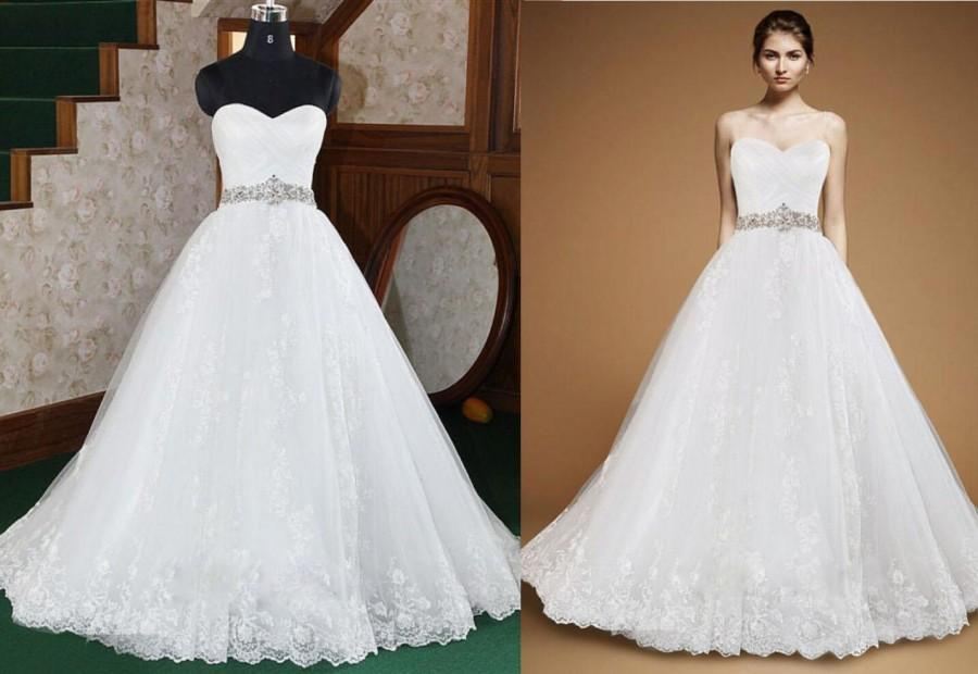 Actual Pictures Crystal Beaded Sash A Line Wedding Dresses