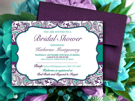 Bridal Shower Invitation Template - Teal Green Eggplant Plum Purple - bridal shower invitation templates download