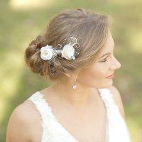 Burlap Wedding Hair Piece Rustic Wedding Hairpiece Vintage ...