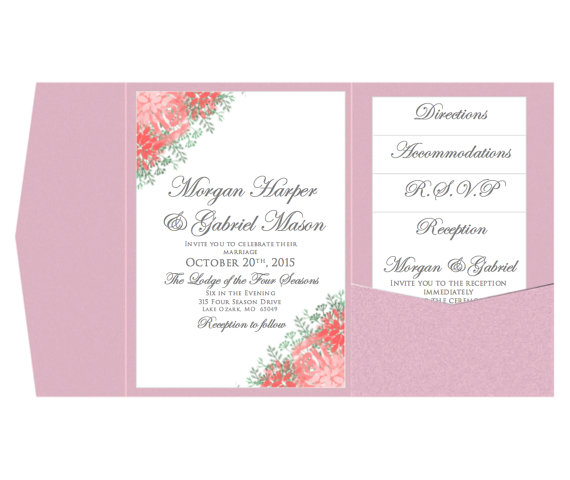 Pocket Wedding Invitation Template Set - INSTANT DOWNLOAD