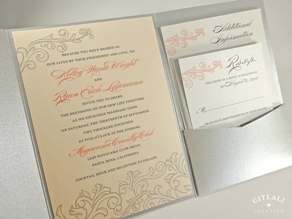 Blush Pink Peach And Silver Wedding Invitations Elegant