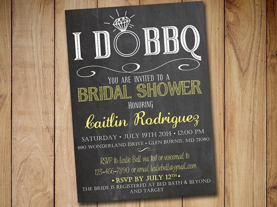 I DO BBQ Bridal Shower Invitation Template - Chalkboard Wedding - chalk board invitation template