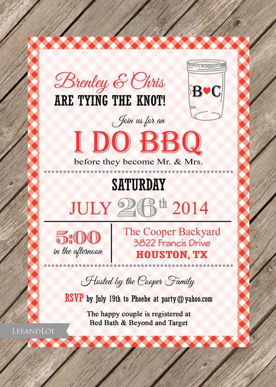 I Do BBQ Wedding Shower Invitation-Couples Shower, Bridal, Coed - i do bbq wedding invitations
