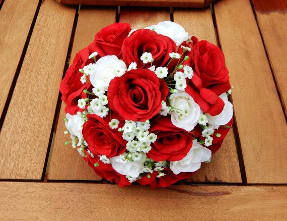 White Red Rose Gypsophilla Wedding Bouquet Bridesmaid