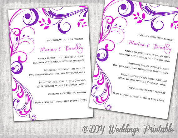 Wedding Invitation Templates Purple And Pink \