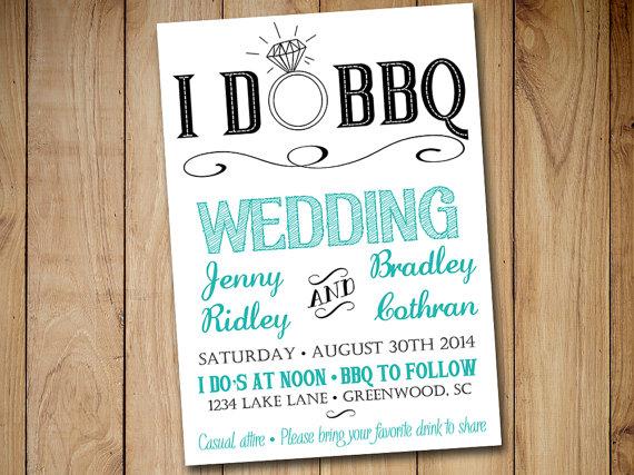 I DO BBQ Wedding Invitation Template Download - Blue Teal Black 5x7 - i do bbq wedding invitations