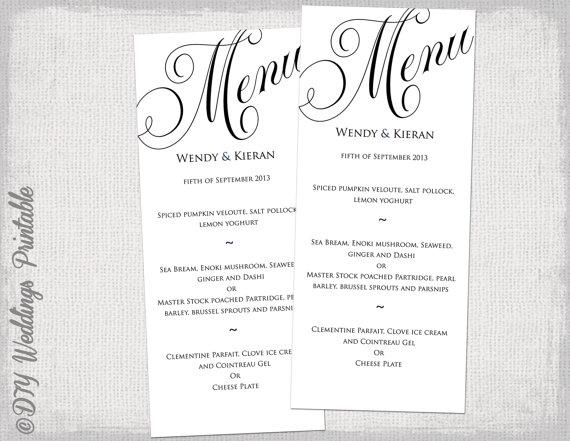 Menu Template Black And White Wedding Menu DIY Wedding Menu Template