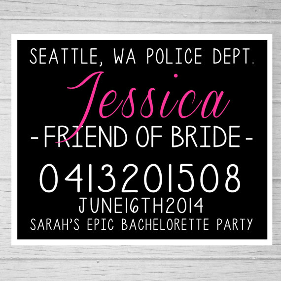 PRINTABLE Bachelorette Party Mugshot Signs Customized With Your