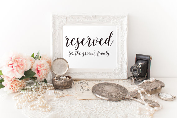 Printable Reserved Sign, 5 X7, Wedding Reserved Sign, Reserved For