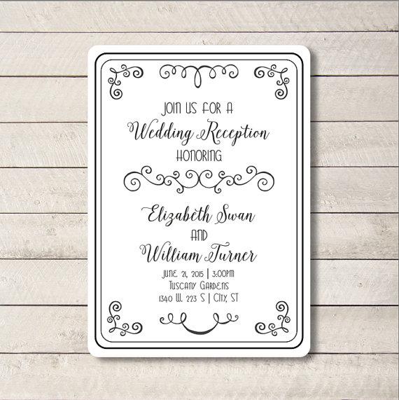Swirl Wedding Invite, Script Wedding Invitation, Wedding Invitation