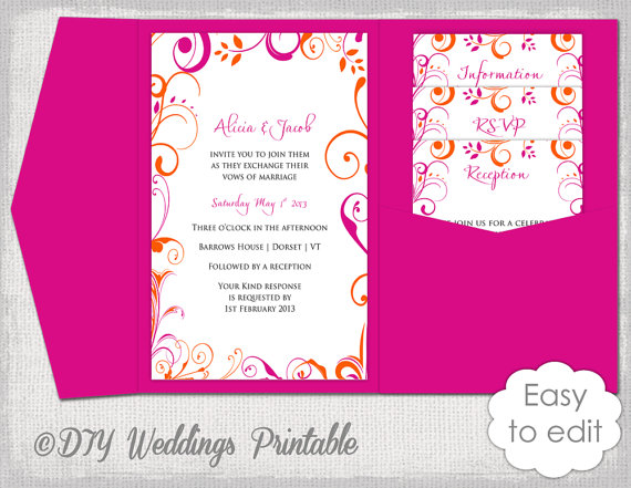 Pocket Wedding Invitation Template Diy Pocketfold Wedding
