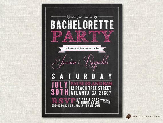 Bachelorette Invitation - Chalkboard Themed Bachelorette Party
