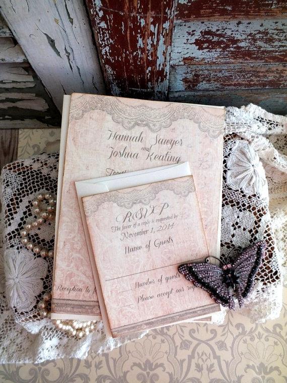 Vintage Lace Wedding Invitation Handmade By