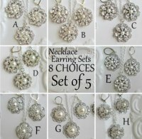 Set Of 5 Necklace Earring Sets Bridesmaid Jewelry Ivory ...