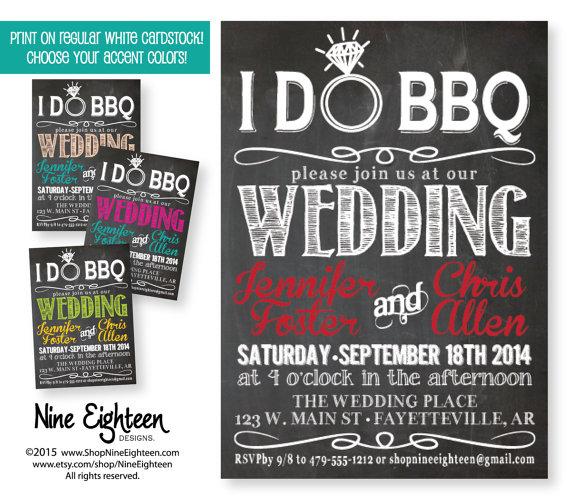 I Do BBQ Wedding Invitation Chalkboard Look Choose Colors Custom