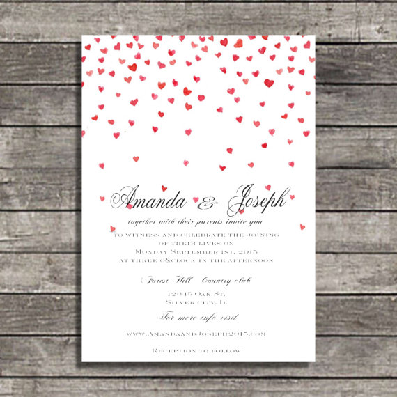 Wedding Invitations Falling Hearts Wedding Invite #2288169 - Weddbook