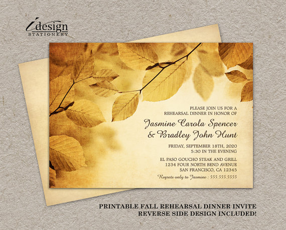 Fall Rehearsal Dinner Invitation With Rustic Fall Leaves, DIY