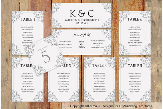 Wedding Seating Chart Template - Download Instantly - EDIT YOURSELF