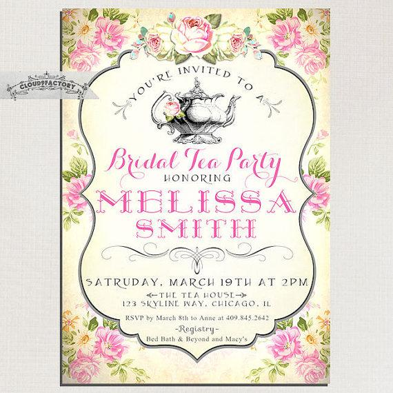 Bridal Shower Tea Party Invitations Vintage Style Pink Yellow Shabby