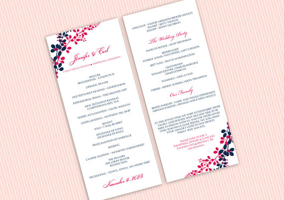 Wedding Program Template - DOWNLOAD Instantly - EDITABLE TEXT