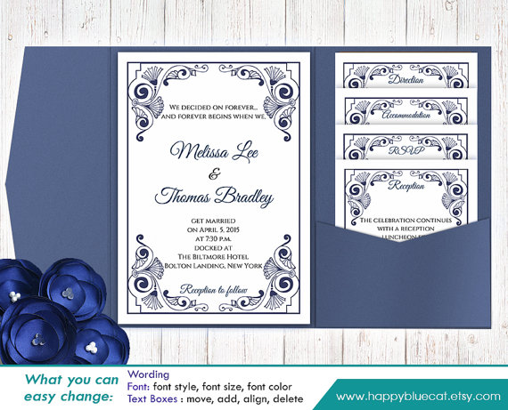 DiY Printable Pocket Wedding Invitation Template SET- Instant - invitation templates microsoft word