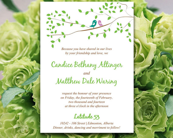 Whimsy Love Birds Wedding Invitation Microsoft Word Template