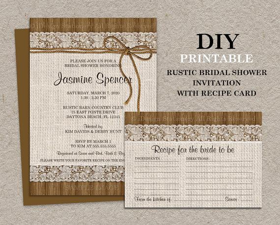 DIY Printable Rustic Bridal Shower Invitation With Recipe Card
