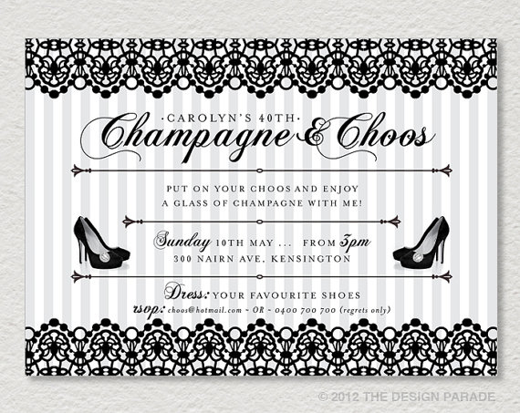 PRINTABLE Lace Invitation - Champagne  Choos Retro, Vintage