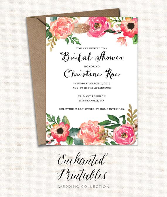 Printable Bridal Shower Invitation, Printable Rustic Bridal Shower