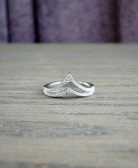 Chevron Sterling Silver Ring, White Diamond Engagement ...