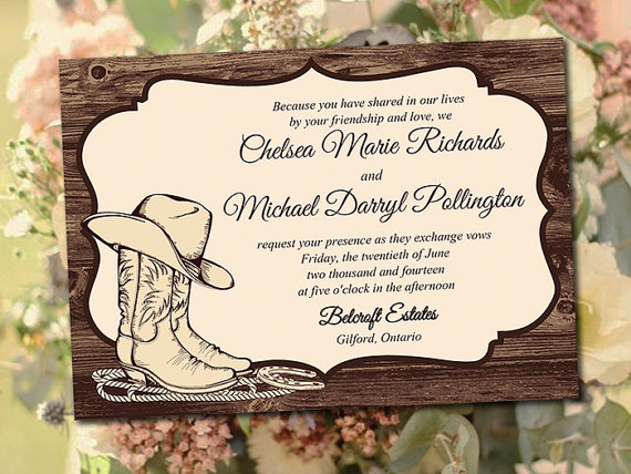 Printable Wedding Invitation Template Quotcountry Western