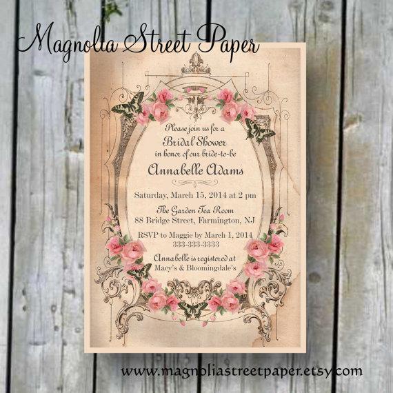 Printable Bridal Shower Invitation, Custom Printable Shabby Chic