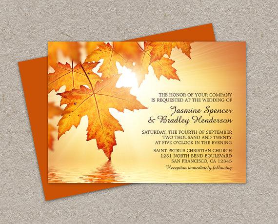 DIY Printable Fall Wedding Invitations With Leaves, Fall Invitation