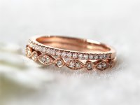 14K Rose Gold Ring Set Stacking Ring Stackable Band ...