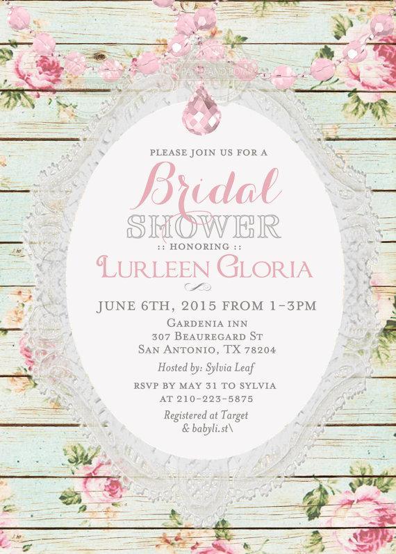 Vintage Shabby Chic Floral Crystal Garland Bridal Shower Invitation