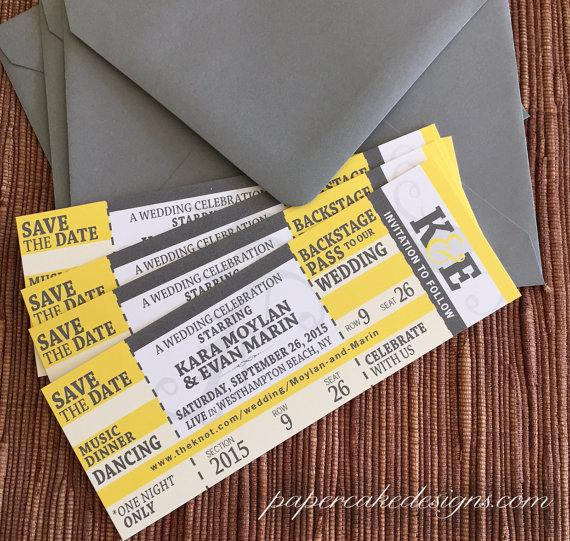 Concert Ticket Wedding Save The Date / Birthday / Shower / Party