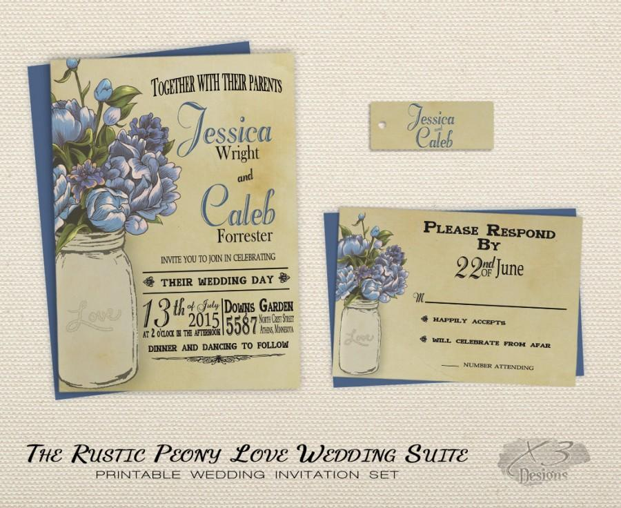 Printable Rustic Wedding Invitation Set, Mason Jar Wedding