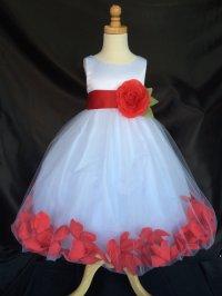 Flower Girl Dress - White Rose Petal Dress - Wedding ...