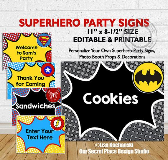 INSTANT DOWNLOAD Editable Superhero Party Signs Superhero Party