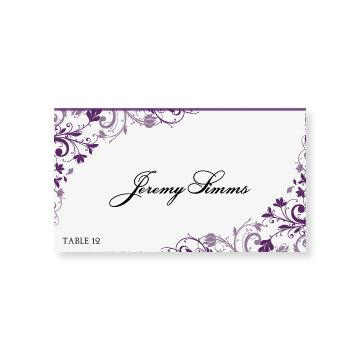 INSTANT DOWNLOAD - Wedding Place Card Template - Chic Bouquet (Plum - folded place card templates