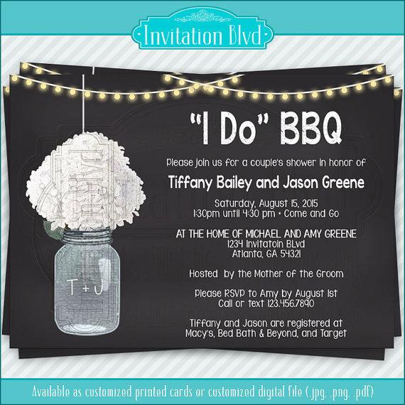 I Do BBQ Chalkboard Mason Jar Invitation, Couples Shower Barbecue
