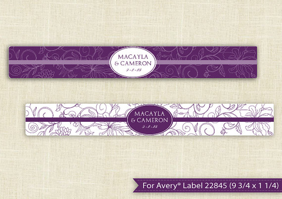DOWNLOADABLE Water Bottle Label Template For Avery® 22845 (9 3/4 X 1