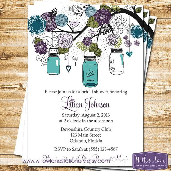 Mason Jar Bridal Shower Invitation - Mason Jar Bridal Shower Invite
