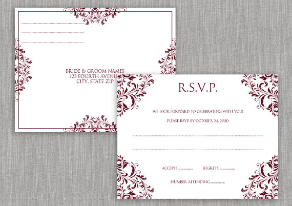 Wedding RSVP Postcard - Instant Download - EDITABLE TEXT - Nadine