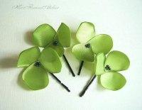 Lime Green Hair Pins Chartreuse Hair Flowers Green Hair ...