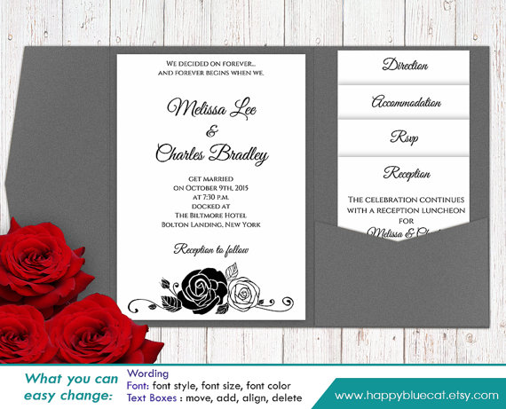 Diy Printable Pocket Wedding Invitation Template Set