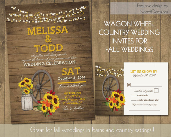 Rustic Sunflower Wedding Invitations Suite Country Western Wagon